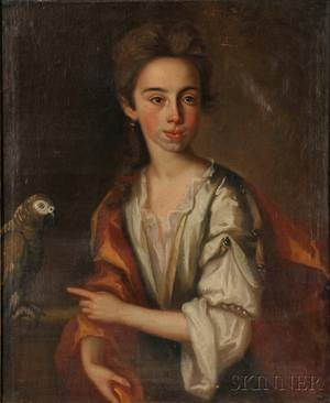 AmericanContinental School 18th Century Portrait of a Young Woman with a Parrot