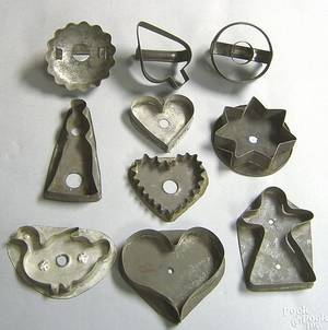 Ten early tin cookie cutters late 19thearly 20th c