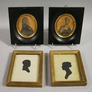 Two Framed 19th Century Miniature Silhouettes and Pair of Framed Miniature Portraits