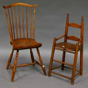 Windsor Fanback Side Chair and a Childs Slatback High Chair