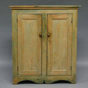 Greenpainted Pine Cupboard with Two Paneled Doors