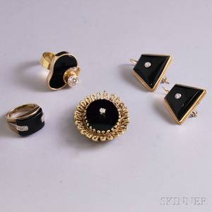 Small Group of Mostly Gold Onyx and Diamond Jewelry