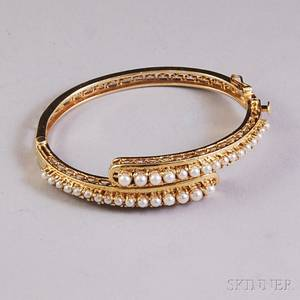 14kt Gold and Pearl Bypassstyle Hinged Bangle Bracelet
