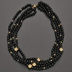 Fourstrand Onyx and 14kt Gold Bead Necklace