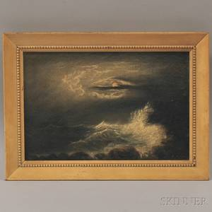 Clement Drew American 18061889 Moonlight View of Persian Head GloucesterGale Sept 1882