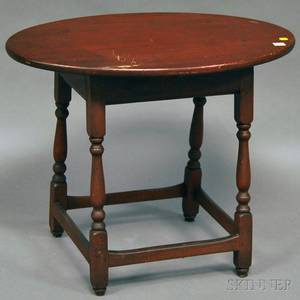 Oval Pine and Maple Tavern Table with Splayed Legs and Stretcher Base