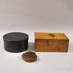 Tiger Maple Grainpainted Pine Lidded Box a Blackpainted Circular Wood lapsided Box with Cover and a Christiantheme Reliefcarved