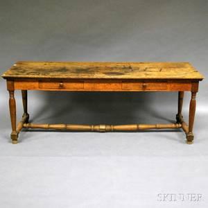 Oak Twodrawer Stretcherbase Table