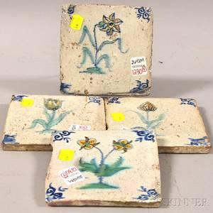 Set of Four Dutch Flower Specimendecorated Glazed Pottery Tiles
