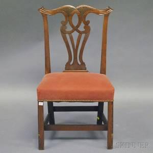Chippendale Upholstered Carved Walnut and Cherry Side Chair