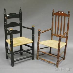 Blackpainted Pilgrim Centurystyle Turned Maple Slatback Armchair and a Bannisterback and Turned Maple Armchair with Rush Seat