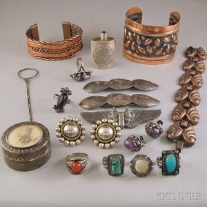 Small Group of Mostly Sterling Silver and Copper Jewelry