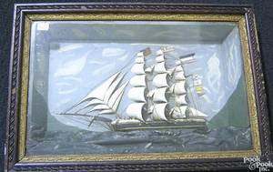 Carved and painted diorama of the sailing ship
