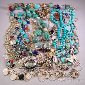 Group of Mostly Sterling Silver and Southwestern Jewelry