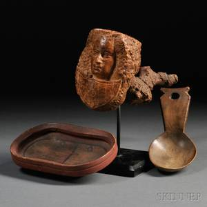 Figural Carved Burl Pipe Carved Wooden Spoon and a Painted Wooden Dish