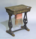 Japanned sewing stand with compartmented interior