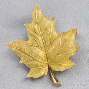 18kt Gold Leaf Brooch Tiffany  Co