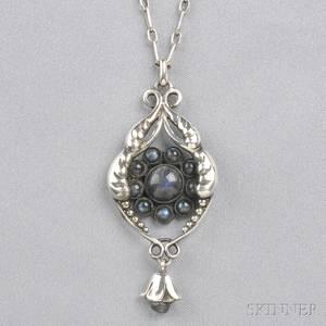 830 Silver and Labradorite Pendant Georg Jensen