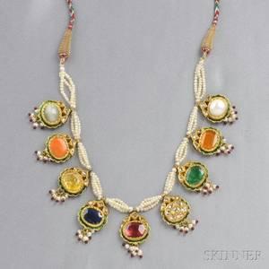 Highkarat Gold Gemstone and Rosecut Diamond Necklace