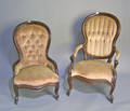 Victorian walnut Ladies and Gents chair