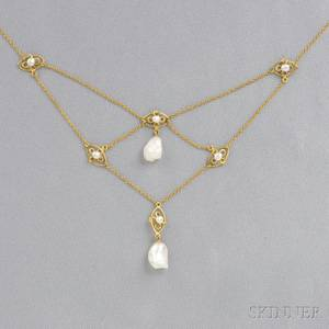 Art Nouveau 14kt Gold and Baroque Freshwater Pearl Necklace