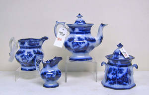 Four pcs of flow blue to include coffee pot