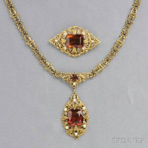 Arts  Crafts 14kt Gold and Citrine Necklace and Brooch