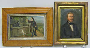 Oil on board scene of a gentleman with his dog and mule in the pound in a birdseye maple frame