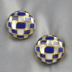 18kt Gold Lapis and Motherofpearl Earclips Tiffany  Co