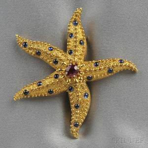 18kt Gold Ruby and Sapphire Starfish Brooch Schlumberger Tiffany  Co