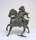 Bronze sculpture of a mounted Samurai with brass fittings