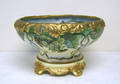 Limoges 2pc porcelain footed punch bowl with gilt trim and extensive grape design inside and out