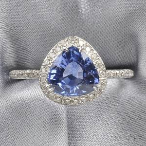 18kt White Gold Sapphire and Diamond Ring Fred Leighton