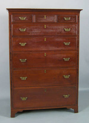 Pennsylvania Federal cherry tall chest ca 1810