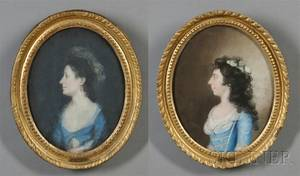 Attributed to James Sharples Sr BritishAmerican 175121811 Pair of Portraits of Two Young Ladies