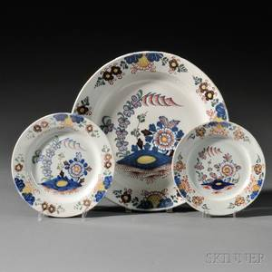 Two Polychrome Floraldecorated Delft Plates and a Charger