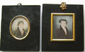 Two miniature watercolor on ivory portraits of gentlemen earlymid 19th c