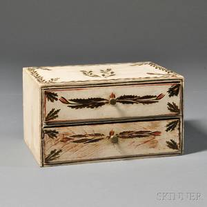 Paintdecorated Trinket Box with Two Drawers