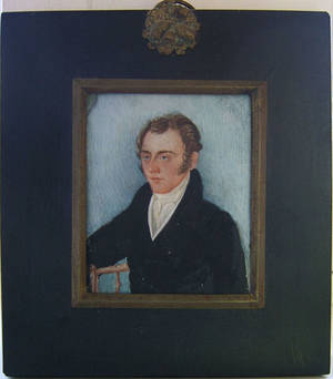 Miniature watercolor on ivory portrait of a seated gentleman 19th c