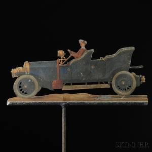 Polychromepainted Sheet Iron Early Touring Car Weathervane