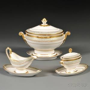 Three Old Paris Porcelain Gilt and Enameldecorated Serving Dishes