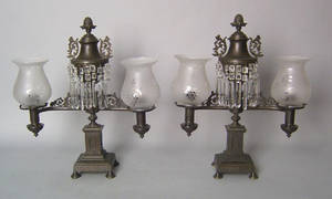Pair of patinated bronze doublearm Argand lamps earlymid 19th c