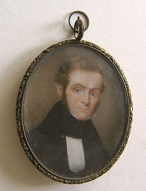 Miniature watercolor on ivory portrait of a gentleman early 19th c