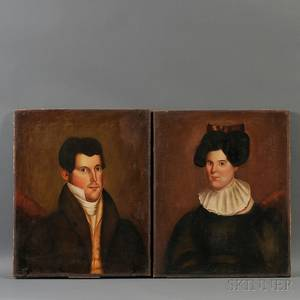 American School 19th Century Pair of Portraits of a Young Husband and Wife