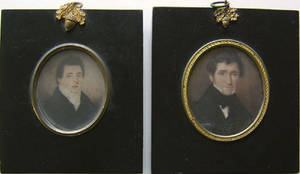 Two miniature watercolor on ivory portraits early 19th c