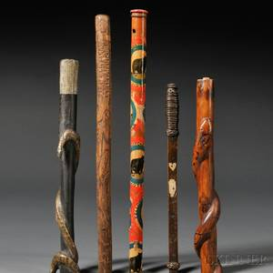 Five Folk Art Walking Sticks