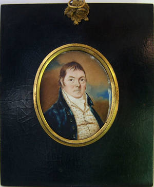 English watercolor on ivory miniature portrait early 19th c