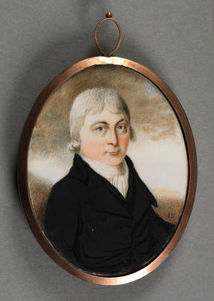 Miniature watercolor on ivory portrait of a gentleman late 18th c
