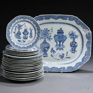 Partial Set of Chinese Export Porcelain Plates with a Matching Platter