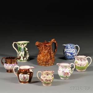 Eight Mostly English Ceramic Pitchers
